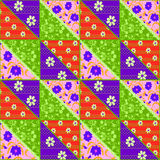 Bright patchwork seamless lace retro flowers pattern Stock Photo