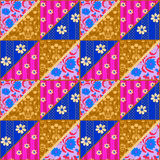 Bright patchwork seamless lace retro flowers pattern Royalty Free Stock Photography