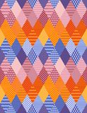 Bright patchwork seamless pattern from ornamental rhombus patches. Zigzag colorful stripes. Vector illustration stock illustration