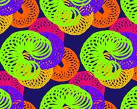 Large bright spring of the spiral circles on a dark background royalty free illustration