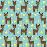 Bright pattern background with funny cartoon deer from sledding Royalty Free Stock Image