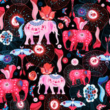 Bright pattern of beautiful elephants Stock Images