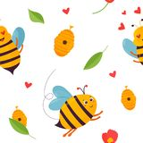 Bright pattern with bees, beehive and elements. Bright pattern with bees, beehive and other elements Stock Images
