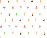 Bright pattern of the candy store. Funny summer pattern with ice cream. Several types of cream candy, fruit, vanilla, watermelon. Bright pattern of the candy Stock Images