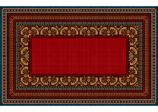 Bright pattern of the carpet with motley border and a red center. Luxurious vintage oriental carpet with bright pattern motley border and a red center Royalty Free Stock Photo