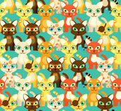 Bright pattern with cartoon cats Royalty Free Stock Images