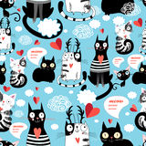 Bright pattern cat lovers Stock Images
