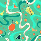 Bright pattern with cocktails, citrus and waves stock illustration