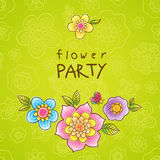 Bright pattern with colorful flowers. Royalty Free Stock Photos