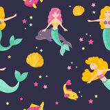 Bright pattern with cute mermaids and fishes vector illustration