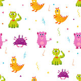 Bright pattern with cute monsters. Can be used for textile, paper wrapping, cover Royalty Free Stock Photos