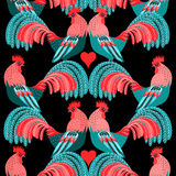 Bright pattern of decorative roosters Stock Photos