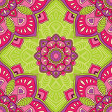 Bright  pattern. Elegant seamless oriental ornaments of mandalas on a green background. Bright  pattern for carpet, wrapping, wallpaper, textile Royalty Free Stock Photography