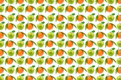 Bright pattern fruits, apples and oranges. Royalty Free Stock Photo