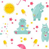 Bright pattern with funny hippos and smiling sun. vector illustration
