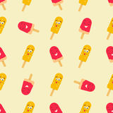 Bright pattern with funny smiling ice-cream. Bright pattern with funny ice-cream Stock Illustration