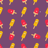 Bright pattern with funny smiling ice-cream Stock Photo