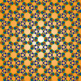 Bright pattern of geometric shapes. Illustration bright pattern texture of geometric shapes yellow green blue red on orange gradient background stock illustration