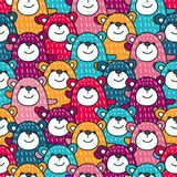 Pattern with bears-3. A bright pattern with pretty bears. Children`s background for decor, textiles Stock Photo