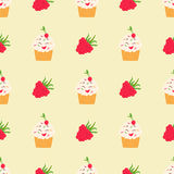Bright pattern with raspberry and funny smiling cupcake. Bright pattern with funny cupcake and raspberry Royalty Free Stock Photo