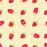 Bright pattern with raspberry and funny smiling ice-cream. Bright pattern with funny smiling ice-cream and raspberry Royalty Free Stock Photos