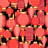 Bright pattern with red lanterns Royalty Free Stock Photography