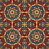 Bright pattern for shawl. Oriental colorful pattern of mandalas. Vector rich ornament with floral elements. Template for textile, carpet, shawl Stock Image