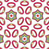 Bright pattern in style of the fifties red, orange and neon. Bright pattern in the style of the fifties, colorful kaleidoscope of red, orange and neon Royalty Free Stock Photography