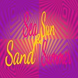 Bright pattern in style of three-dimensional drawing with text Summer Sun Sea Sand. vector illustration