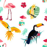 Bright pattern with toucan, parrot, flamingo and cocktail. Can be used for wrapping, envelope paper, textile. Stock Photo