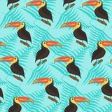 Bright pattern with toucans and leaves on blue vector illustration
