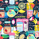 Bright pattern of various fruit drinks and fruit Stock Images