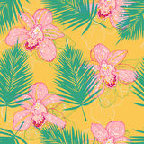 Bright pattern wit orchids. Bright tropical pattern with pink orchids and palm leaves, vector seamless pattern Stock Photography
