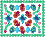 Bright patterned background with eggs , with circles, with colors and different elements royalty free illustration