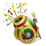 A bright, patterned circus gun on beautiful wheels shoots sweets and colorful confetti. Circus object in the style of a card. Inventory. Children`s vector royalty free illustration