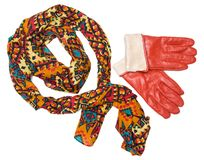 Bright patterned scarf and orange gloves Royalty Free Stock Photo