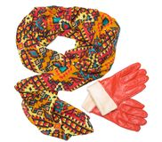 Bright patterned scarf and orange gloves Stock Photography