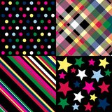 Bright patterns. Four brightly colored patterns on a black background Stock Photos