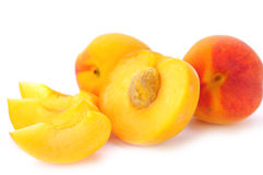 Bright peaches. On the white Royalty Free Stock Images