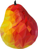 Bright pear. Bright and colored pear in low poly vector illustration