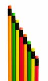 Bright pencils forming diagonal line Royalty Free Stock Photos
