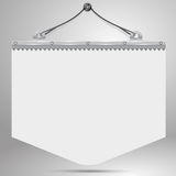 Bright pennant hanging on the wall. The white pennant with a metal holder and cord, hanging on a nail on the wall with shadow Royalty Free Illustration