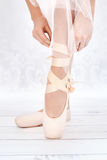 Bright photo of ballerina's feet Stock Image