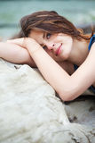 Bright photo of a beautiful model relaxing Royalty Free Stock Photos