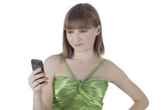 Bright picture of angry woman with cell phone. Over white Stock Photography