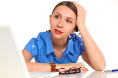 Bright picture of friendly female helpline operator Royalty Free Stock Photography