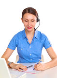 Bright picture of friendly female helpline operator Royalty Free Stock Images
