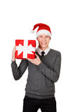 Bright picture of handsome man wearing Santa hat Stock Photo