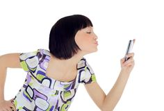 Bright picture of happy woman with cell phone Stock Image