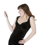 Bright picture of happy woman with cell phone Royalty Free Stock Photos